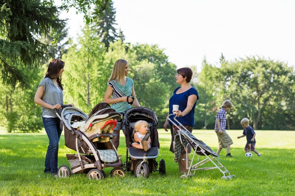 Happy mothers with baby strollers talking in park