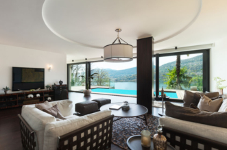 44117437 - modern house, pool view from the living room